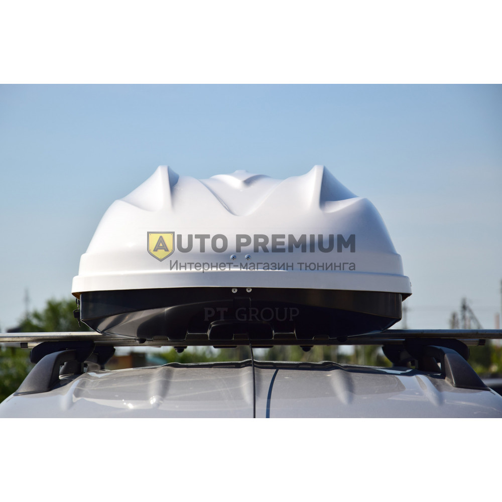 Автобокс на крышу Белый Turino 1 LUX (410 л) Аэродинамический на крышу автомобиля